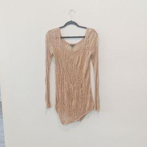 Express knitted lightweigh long shirt brown tan